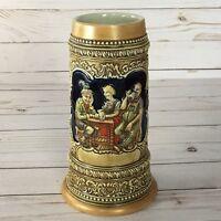 Vintage Ceramarte Beer Stein Mug w/ Tavern Bar Scene & German Sayings Cheers