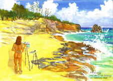 "Reproduction Print Watercolor Painting 5x7"" Artist at Cupecoy, Saint Martin 2001"