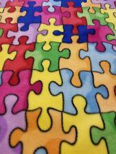 No-Sew Blanket.Autism Awareness Puzzle Pieces