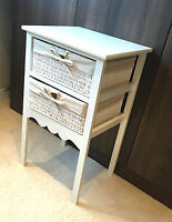 Tall White Bedside Table Shabby Chic Drawers Wicker Storage Baskets Nightstand
