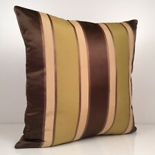 Chocolate Brown, Light Tan and Olive Green Decorative Throw Pillow Cover