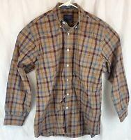 "Pendleton Tan Blue Plaid Mens Medium Long Sleeve Button Down ""Metro Shirt"""