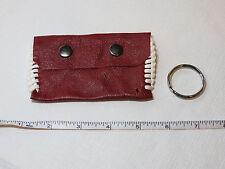"Handmade leather coin / card key holder dark red w/ stitching 4 1/4"" X 2 1/2"""