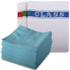 10 x Blue Microfibre Exel Supercloths & 10 x 100% Cotton Glass Cloths Pack