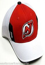 New Jersey Devils NHL Reebok Center Ice Draft Hat Cap Red White Mesh Flex Fitted