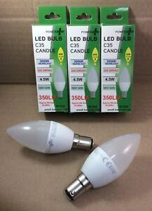 Pack of 5 x 4.5w = 40w Watt B15 Small Bayonet Warm White Candle 350lm Light Bulb