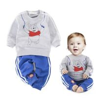 2pcs Toddler Baby Boy Kids Long Top Hoody+Pants Trousers Set Outfit Clothes Bear