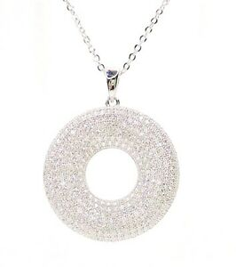 STERLING SILVER CUBIC ZIRCONIA XL FANCY PENDANT with FREE CHAIN !!