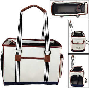 Fashion 'Yacht Polo' Designer Travel Fashion Pet Dog Carrier bag w/ Pockets