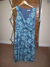 NEW MARKS & SPENCER SLEEVELESS  MID BLUE DRESS WITH BLUE/GREEN LEAF PATTERN, 14