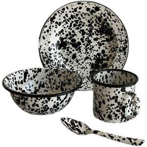 Enamel Marble Salad Plate Bowl Spoon Mug Retro Abstract Collection Home Decor