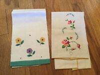 2 Vintage Linen Hand Towels 1 Embroidered with Roses 1 Appliquéd with Flowers