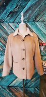 LL Bean Womens Brown Tan Faux Suede Sherpa Lined Coat Jacket Size Small P