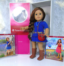 "NEW American Girl 18"" SAIGE DOLL Meet Outfit Ring Books Red Hair Blue Eyes BOX"
