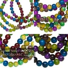 20 Assorted Color Tie Dye Round Glass Loose Beads With Crackle Design Small-Big