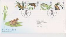 GB ROYAL MAIL FDC FIRST DAY COVER 2001 POND LIFE STAMP SET PETERBOROUGH PMK