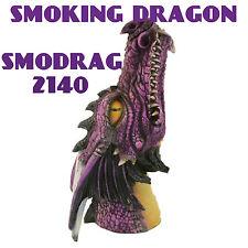 "Incense Burner Poly Resin Purple Smoking Dragon 11 "" Stick Burner smodrag"