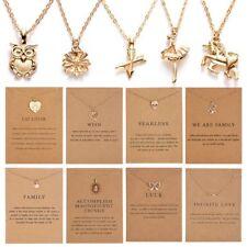 Collar de mujer Encantos Colgante Oro Cadenas De Clavícula Gargantilla tarjeta Joyería Regalos