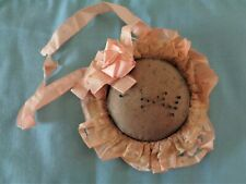 Antique Unique Lg metal mesh hat pin/ pin cushion with silk ribbon and lace trim
