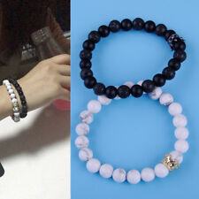 2stk Onyx Stein Perlen Armband & Weiss Howlith Perlen Krönen Armband 8mm