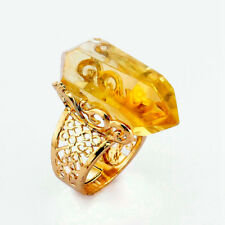 Fashion Hollow Design Genuine Golden Citrine Yellow Gold Plated Hexagon Ring