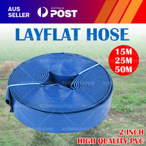 2 Inch 50mm PVC Layflat Hose Water Pump Transfer Lay Flat Outlet 15/25/50m