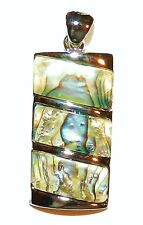 P1884 Abalone Shell 34mm Tiered Rectangle Pendant w Silver Brass Setting & Bail