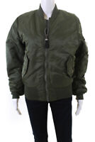 Alpha Industries Inc Womens Zip Up Bomber Jacket Coat Green Size XS