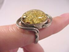 (pr6-1) YELLOW AMBER oval Poland .925 Sterling SILVER swirl RING size 6 Jewelry