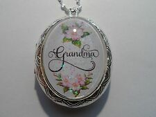 STERLING SILVER PLATED VICTORIAN FLORAL GRANDMA OVAL LOCKET NECKLACE 26""