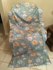 AQUA BLUE & GOLDEN YELLOW FLORAL FABRIC 70x72 SHOWER CURTAIN NEW NO TAGS OR PKG