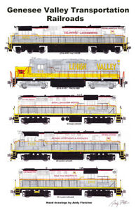 "Genesee Valley Transportation Locomotives 11""x17"" Poster by Andy Fletcher signed"