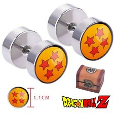 DragonBall Z Silver Plated Ear Stud Earrings Jewelry With Wood Box