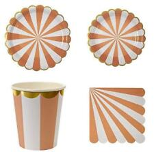 Polka Dot Sky Pastel Striped Birthday Party Tableware, Paper Plates Cups (32pcs)