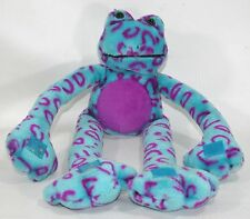 Plush Tree Frog Stuffed Animal Toad Turquoise Blue Purple Spotted Velcro Plush