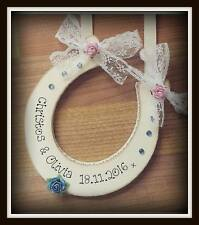 Handmade Wooden Personalised Bride and Groom Horseshoe Gift Sign Any colour