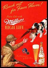 1940 Miller High Life Beer Pheasant Hunter English Springer Spaniel Dog Print Ad