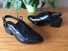 Asos Olympia black sheen pointed brogue lace up slingback shoes UK 4 EU 37 BNWB