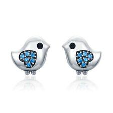 Fashion Blue CZ Sweet Bird 925 Sterling Silver Women Girls Stud Earrings Jewelry