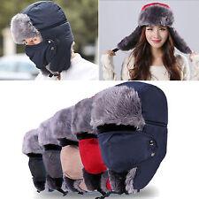 Men Women Winter Thermal Cossack Trapper Ushanka Ski Hats Hood Earflap With Mask