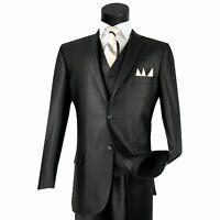 Details about  /VINCI Men/'s Black 3pc Formal Tuxedo Suit w// Sateen Lapel /& Trim NEW