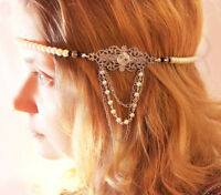 1920's/flapper beaded headband made with Swarovski crystal, and drop chains
