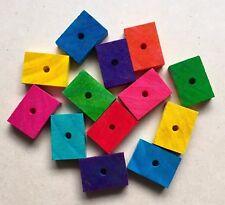 5 x Colour Pine Wood Slices 4x3x1cm - Rectangle DIY Pet Parrot Bird Toy Parts