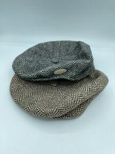 Vintage Kangol Newsboy Mens Herringbone Tweed Hat Lot Of 2 Grey Brown XL X/Large