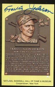 Travis Jackson Signed Baseball HOF Yellow Plaque Autographed Giants JSA