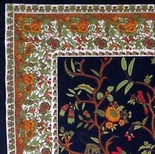 Handmade Cotton Tree of Life Tapestry Throw Tablecloth Spread Black Gold 88x104