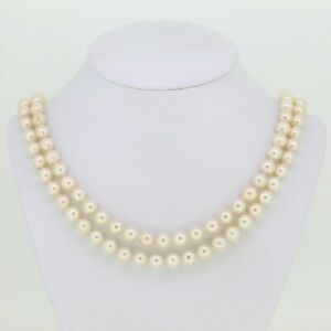 Gold Pearl Necklace - Cultured Pearl Necklace with 18ct Yellow Gold Clasp