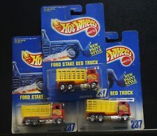 3 NEW HOT WHEELS FORD STAKE BED TRUCK 237 RED YELLOW, 1 BLUE CARD RAPID DELIVERY
