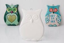 Gufo piatto in ceramica biscotto gufetto Flat Owl Hanging Decoration gufetto ...
