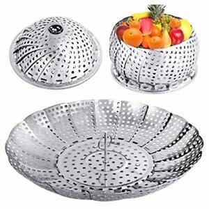 Veggie Vegetable Steamer Basket, Folding Steaming Basket, Metal Stainless